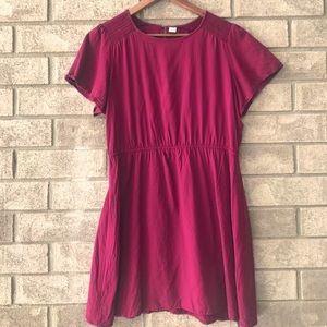 Old Navy Rayon Waist Defined Maroon Dress